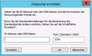 Windows 2012 Server - iSCSI - Zielportal ermitteln