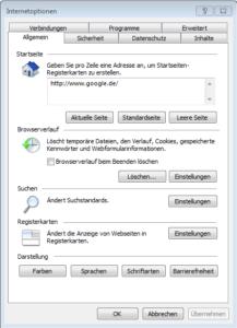Internetoptionen des Internet Explorer