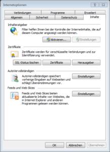 Internetoptionen im Internet Explorer - Reiter Inhalte
