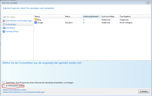 Suche in der Adressleiste des Internet Explorer