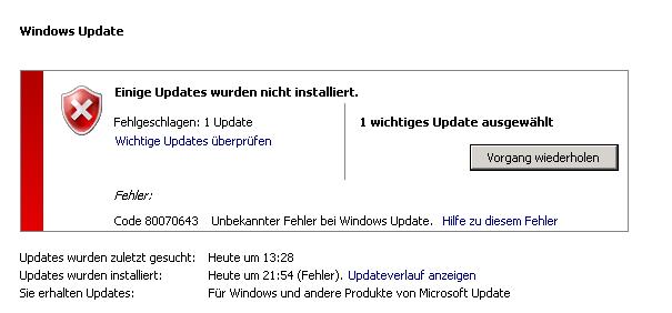 Update Rollup 6 für Exchange Server 2010 Service Pack 2 (KB2746164) schlägt fehl (Code 80070643)