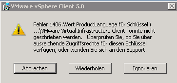 VMware vSphere Client Installationsfehler