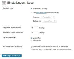 Wordpress Einstellungen Startseite