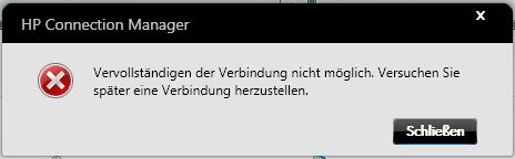 HP Connection Manager - Fehlermeldung Vervollständigen der