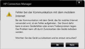 HP Connection Manager Fehlermeldung