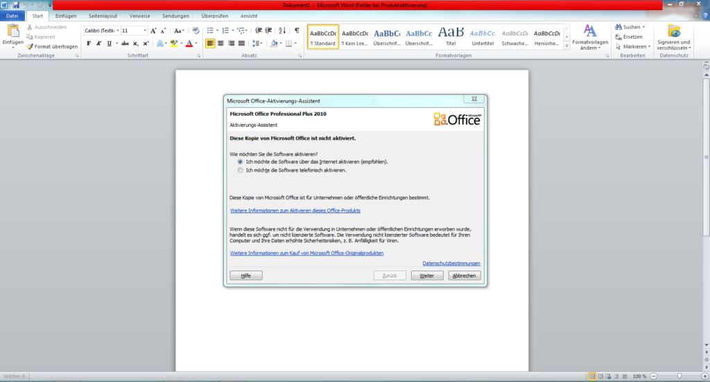 Aktivierung Microsoft Office 2010