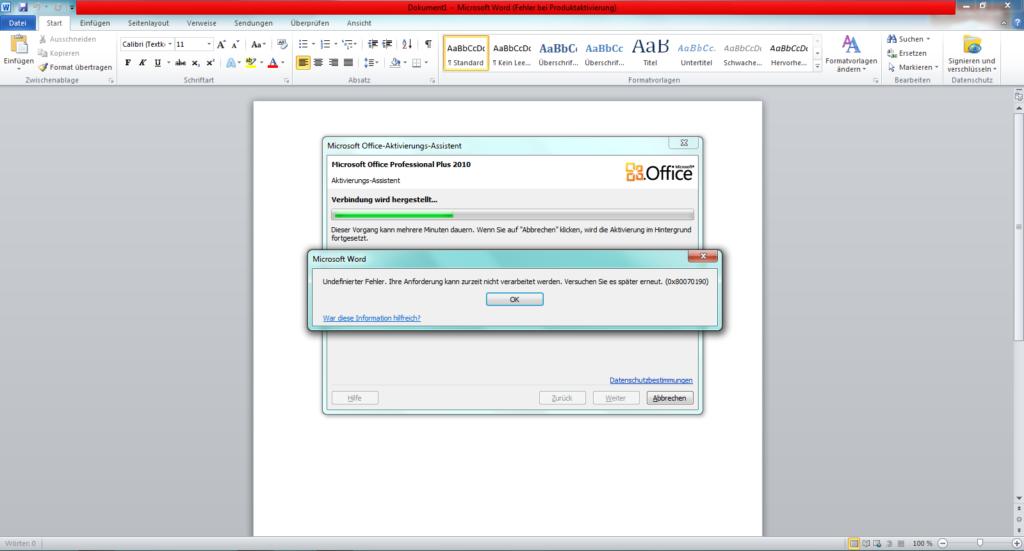 Undefinierter Fehler bei Aktivierung Office 2010
