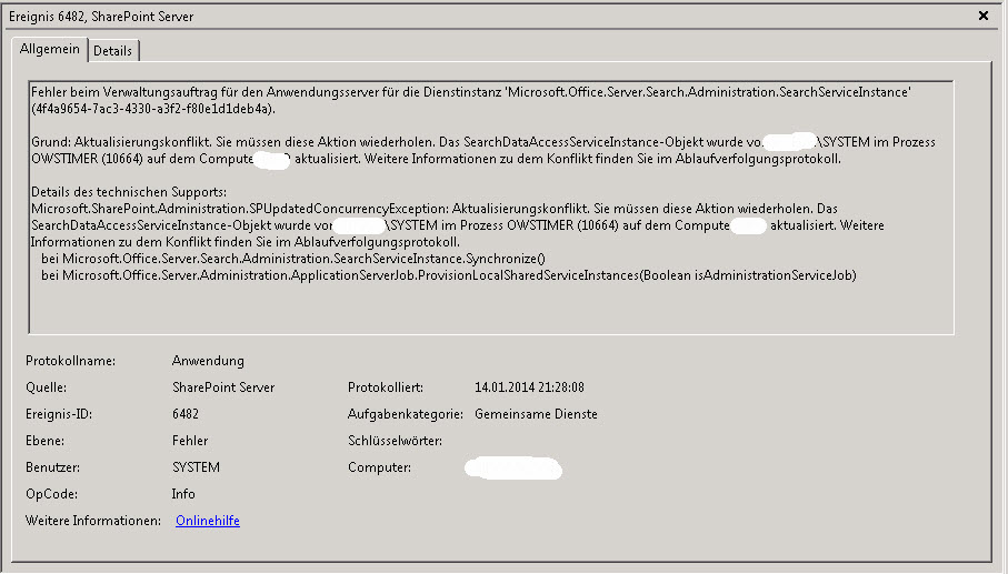 Sharepoint2010EventID6482
