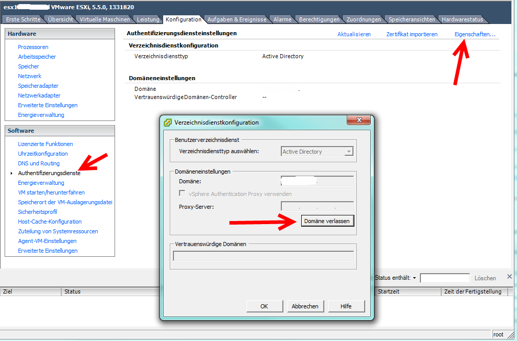 VMware ESX Domäne verlassen