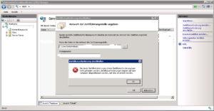 IIS7 Fehler beim Abschliessen einer Zertifikatanforderung