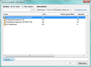 In Outlook 2010 verfügbare Räume bzw. Raumpostfächer