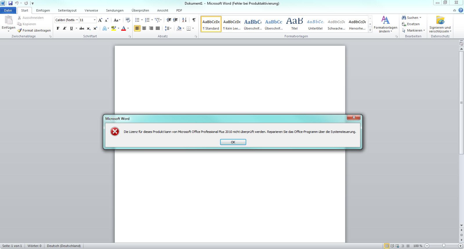 Microsoft Office 2010 Aktivierung - Die Lizenz kann nicht überprüft werden