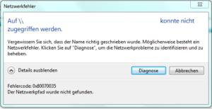 Fehler 0x80070035 - Netzwerkpfad wurde nicht gefunden