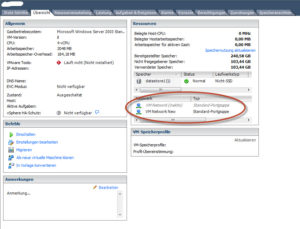 VM Network inaktiv