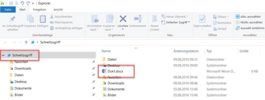 Schnellzugriff im Windows Explorer