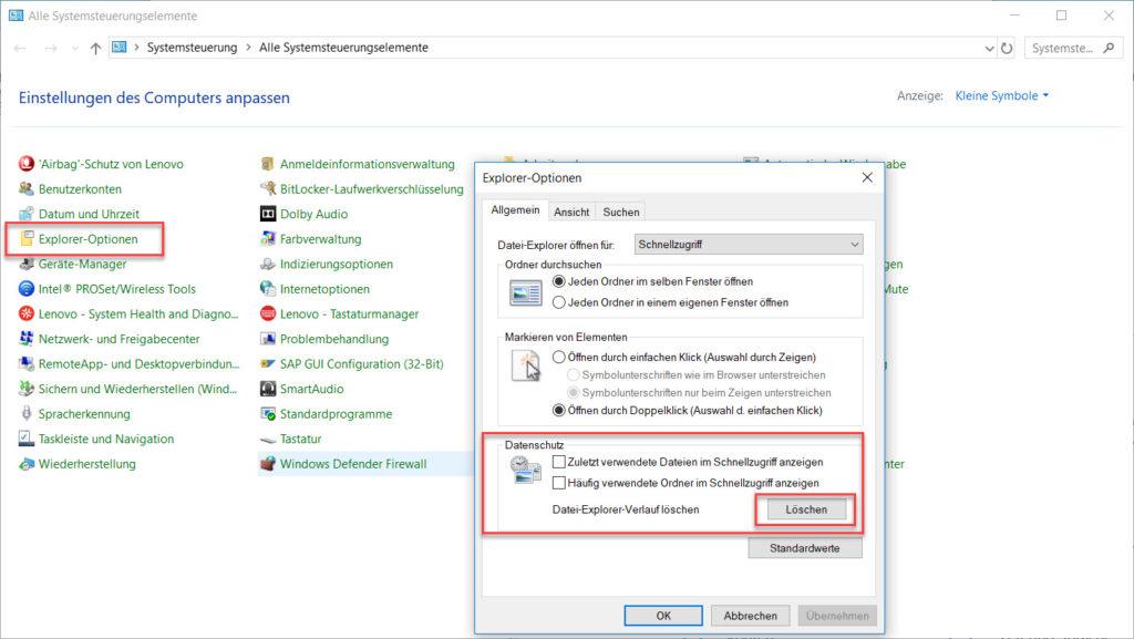 Datei-Explorer-Verlauf löschen