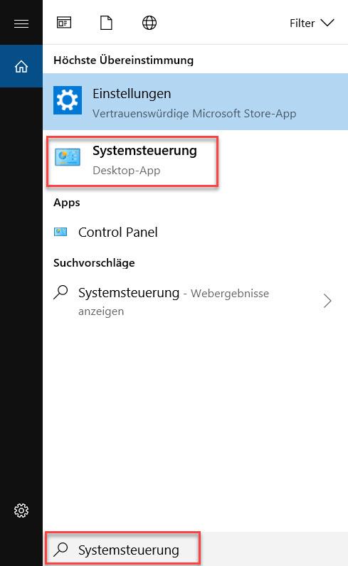 Systemsteuerung suchen in Windows 10