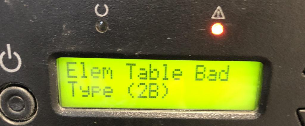 Fehlermeldung Elem Table Bad Type (2B) beim Quantum Super Loader 3