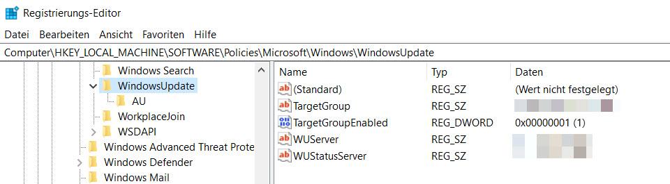 WSUS Einstellungen in der Registry auf einem Windows Client