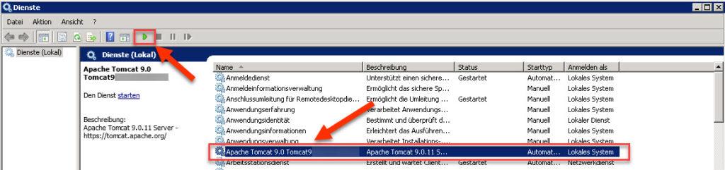 Apache Tomcat Dienst ist nicht gestartet