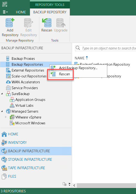 Rescan im Backup Repository ausführen
