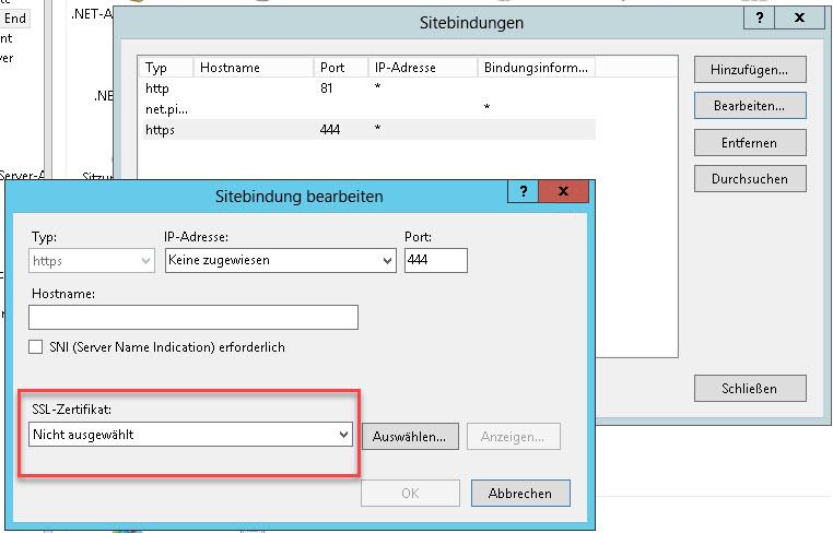 SSL-Zertifikat auswählen