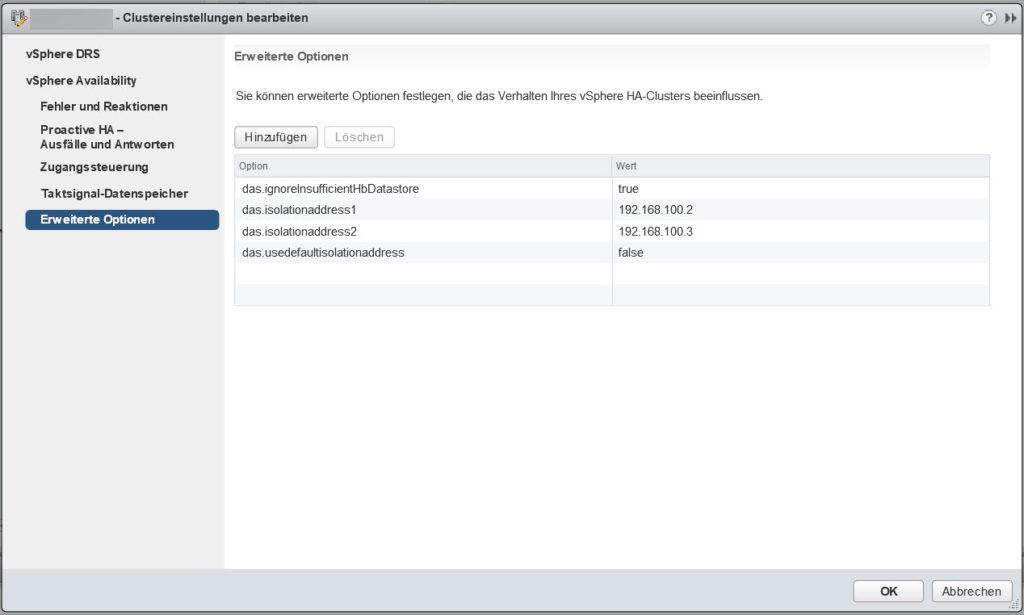In den erweiterten Optionen des HA-Clusters werden die alternativen Isolations-Adressen eingetragen.